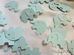 cute elephant confetti!  perfect for parties at tables or by the presents maybe?  great idea for elephant birthday parties, boy baby showers and other ideas!