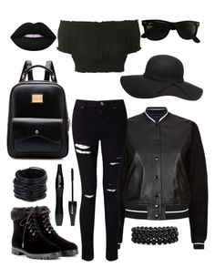 """blackest black"" by riley-meow on Polyvore featuring rag & bone, Miss Selfridge, Topshop, Aquazzura, Ray-Ban, Dorothy Perkins, Saachi, Lancôme, Bling Jewelry and Lime Crime"