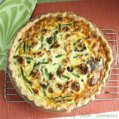 Herbed Chicken & Asparagus Quiche - Family Table Treasures