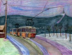 """Trams in Liberec"" by Lorenzo-CZ Canvas Prints, Framed Prints, Art Prints, Laptop Skin, Art Boards, Decorative Accessories, Colored Pencils, Travel Mug, Wall Art"