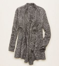 Charcoal Heather Grey Aerie Oversized Cable Knit Cardi