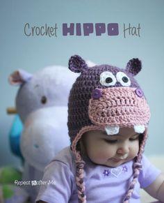 Free #crochet hippo hat pattern via @repeatcrafterme