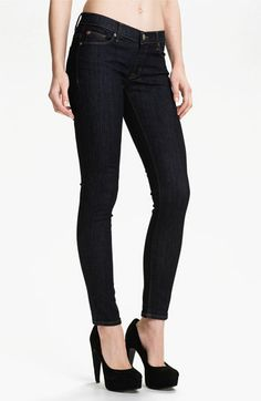 Skinny jeans. Once considered a trend, they are now a denim staple. Skinny jeans look best when they don't fit too snugly at the waist. | Hudson Jeans 'Krista' Super Skinny Jeans (Foley) | Nordstrom | $165 | Wardrobe basics