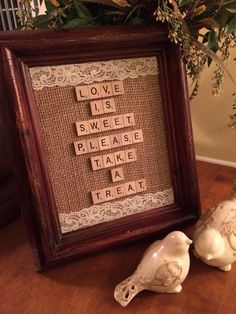 Love Is Sweet Take A Treat Wedding Sign Burlap Banner - Rustic Vintage Country…