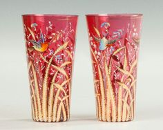 Moser Hand Painted & Gilded Cranberry Glasses.