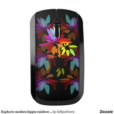 Euphoric modern hippie rainbow print wireless mouse High quality product designed by independent artist. Perfecr gift for her.High quality product designed by independent artist.