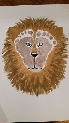 Footprint lion keepsake art
