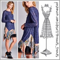 Arrives Week of Jan. 25th Colbalt Blue diamond textured lace tunic featuring a patchwork ruffle asymmetrical hem. Made of cotton & lace. Semi sheer. Black ruffle slip not included. Size S, M, L Threads & Trends Dresses