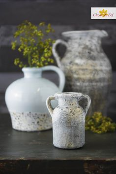 POTTERY • In love with these Clayre & Eef decorative pots/vases! Lightblue with stone is such a nice combination. On our website you can see so much more... ClayreAndEef.com Pottery, Mugs, Stone, Tableware, Vases, Website, Home Decor, Ceramics, Homemade Home Decor