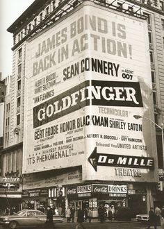 "NYC Times Square advertisement for ""Goldfinger"" (1964)"