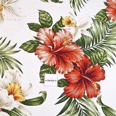 Hawaii Prints Cotton Fabric Classic Hawaiian Kokio Okikas & Lau Lau on White BTY