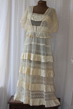 antique Wedding dress, late 1910s, early 1920s