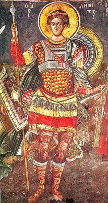 Saint Demetrios and Emperor Leo VI the Wise Religious Images, Religious Icons, Religious Art, Byzantine Icons, Byzantine Art, Greek Icons, Greek Paintings, Religion, Religious Paintings