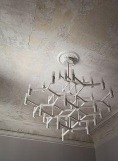 house in Milan—Spotti Cool Lighting, Lighting Design, Pendant Lighting, White Chandelier, Modern Chandelier, Chandeliers, Interior Lighting, Interior Styling, Interior Design