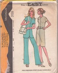 McCall's 3159 Vintage 70's Sewing Pattern SUPER COOL Easy Center Stitch Trim Half Size Tunic Top, Dress & Pants Size 12.5