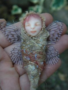 Little Baby Fairy- Sculpture baby Fairy - Polymer Clay miniature. $40.00, via Etsy.