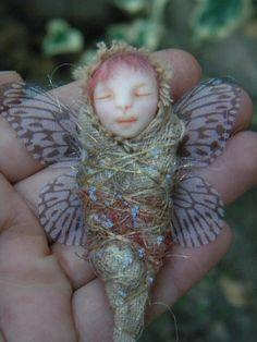 Little Baby Fairy- Sculpture baby Fairy - Polymer Clay miniature. $40.00, via Etsy.