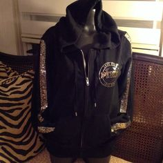 PINK LIMITED EDITION NO TRADES  Black gold and black BLINGS PINK Victoria's Secret Tops Sweatshirts & Hoodies