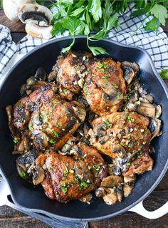 Chicken Thighs Cast Iron, Skillet Chicken Thighs, Braised Chicken Thighs, Chicken Thighs Mushrooms, Boneless Skinless Chicken Thighs, Garlic Mushrooms, Mushroom Chicken, Stuffed Mushrooms, Stuffed Peppers