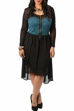 DHStyles Women's Plus Size Classy Strapless Chevron Floor Length Dress