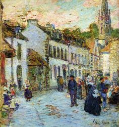 """Childe Hassam (1859-1935, Americain) ~ """"An Evening Street Scene, Pont Aven"""" ~ Huile sur Toile ~ Collection Privée"""