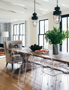 H2 Design and Build - dining room - beadboard ceiling, Lucite chairs, wallpaper, white