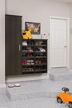 If you don't have a mudroom inside, make one in the garage! It can still be nice.