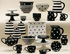 super cute black and white pottery. would look great in a red kitchen. Red Kitchen, Kitchen Decor, Kitchen Ideas, White Decor, Interior Design Living Room, Sweet Home, Polka Dots, Black White, Black And White Dishes