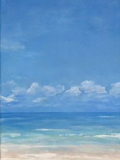 "Summer at the Beach Seascape - Original Oil Painting - 11"" x 14"" - White Clouds Blue Sky Beach Sand Surf Water. Art by Wendy Doak"