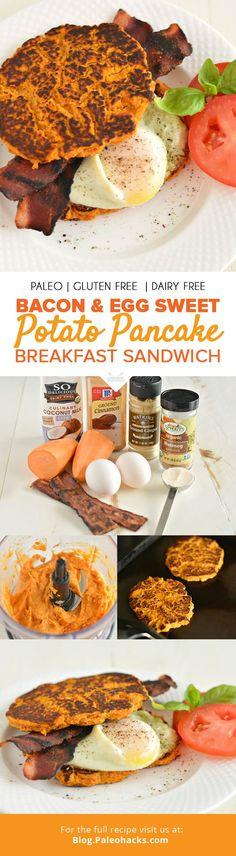 Bacon & Egg Sweet Potato Pancake Breakfast Sandwich Recipe by Megan Olson
