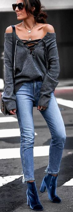 #fall #outfits shoulderless grey sweater jeans velvet blue boots'