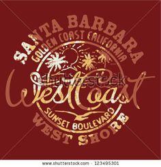 Santa Barbara beach, California - Artwork for t shirt printing in 3 custom colous by ZiaMary, via Shutterstock
