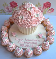 Christening Giant Cupcake and matching Mini cupcakes but thinking this would be a great idea for a wedding also