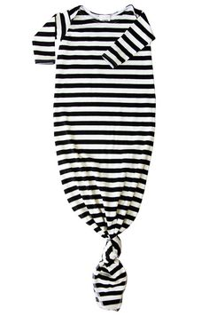 • the softest knitted stripe make up this classic, unisex baby gown • a lap neck makes it easy to fit over baby's head • the knotted bottom keeps baby's feet warm and let's face it - it's just plain a