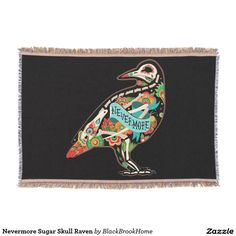 Nevermore Sugar Skull Raven Throw