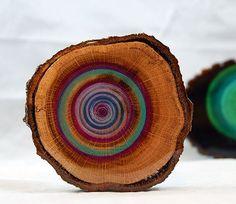 Drishti wood slice art, yoga focus point circle art, painted natural tree slice meditation focal point