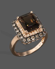 Diamond, Brown Diamond And Smoky Quartz Ring In Rose Gold Jewelry & Accessories - Fine Jewelry - Rings - Bloomingdale's Jewelry Gifts, Jewelry Accessories, Fine Jewelry, Wedding Accessories, Or Rose, Rose Gold, Most Popular Engagement Rings, Smoky Quartz Ring, Schmuck Design