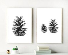 Pine Cone Prints, Set of 2 Pine Cones, Printable Wall Art, Home Decor, Instant Download Affordable Wall Art, Black And White Prints, Typography Prints, As You Like, Pine Cones, Printable Wall Art, Digital Prints, Poster Prints, Wall Decor