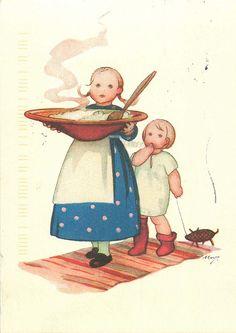 Martta Wendelin | par Postcards1 Chrismas Cards, Vintage Christmas Cards, Vintage Cards, Kids Christmas, Xmas, Elsa Beskow, Girl Face Drawing, Illustration Story, Old Cards
