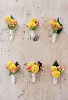 Brides: Hypericum and Billy Balls Boutonniere. The cheerful boutonnieres included yellow billy balls, peach hypericums, and coffee berries, wrapped with twine. Wedding Bride, Floral Wedding, Diy Wedding, Wedding Bouquets, Wedding Flowers, Wedding Ideas, Aqua Wedding, Wedding Poses, Wedding Pictures