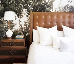 leather headboard, masculine bedroom, tailored bedding, warm interiors, art in the bedroom  manly bedrooms, how to add masculinity to your master bedroom  www.twineinteriors.com