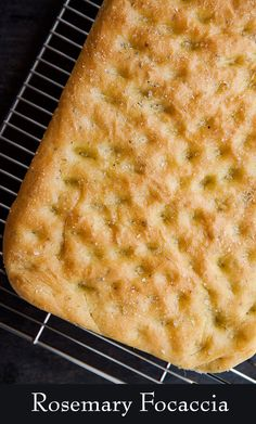 Focaccia Bread with Rosemary ~ Homemade focaccia bread, dimpled Italian flat bread, flavored with olive oil and rosemary. ~ SimplyRecipes.com