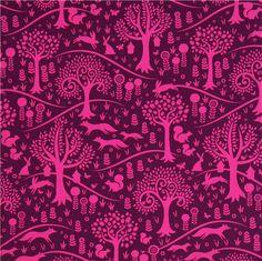 purple forest animal fabric Michael Miller squirrel rabbit 2