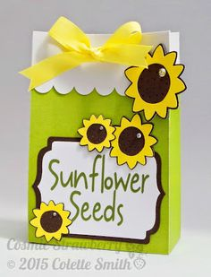 Cosmic Strawberry: Sunflower Seeds Gift Bag with Sowing and Planting Instructions (front view) - Using Cricut® Explore