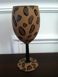 Wine glass painting! Love. Leopard.  Love. Wine.