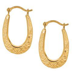 10K Yellow Gold Shiny Swirl Design Oval Hoop Earrings
