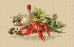 Lobster Still Life Counted Cross Stitch Chart, Kitchen Decor Cross Stitch Pattern, Catherine Klein Instant PDF Digital Download Needlework