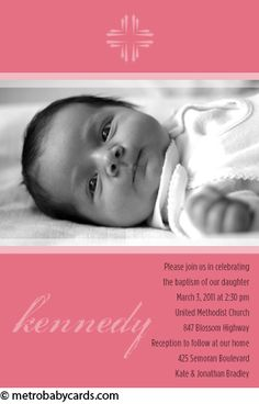 Photo Baptism/Christening Invitations :: Glory Pink Design