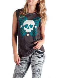 """Women's """"Derby"""" Sleeveless Muscle Tee by Angry Blossom (Black)"""
