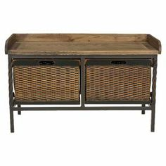 """Stow shoes or light blankets in this rustic storage bench, showcasing 2 wicker drawers and a natural wood top.       Product: Storage bench    Construction Material: Wood, wicker and iron    Color: Antique pewter and light ash      Features:  Two pull-out storage drawers below seat      Dimensions: 20"""" H x 33"""" W x 16"""" D"""
